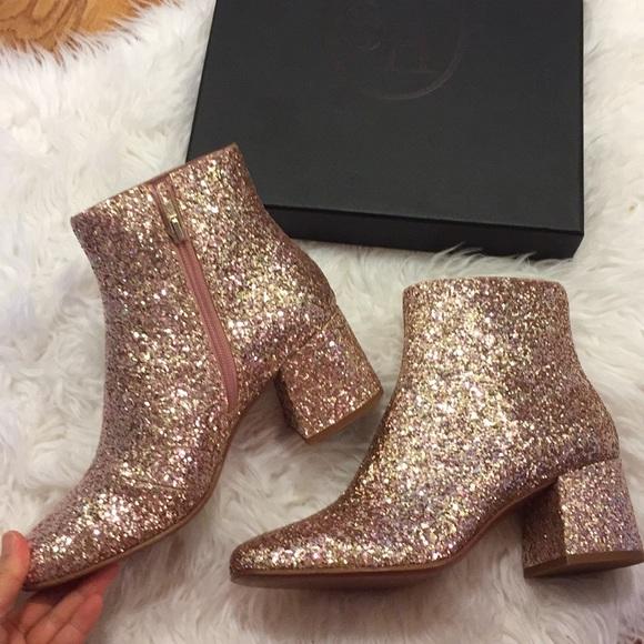 rose gold glitter booties